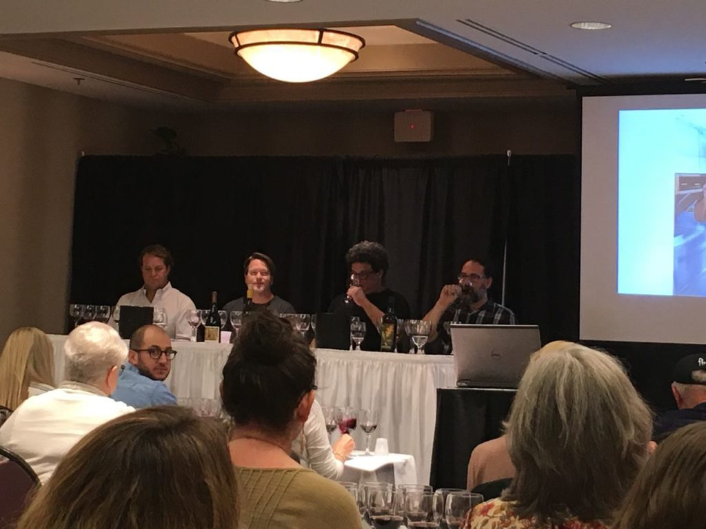 Seminar on syrah from Santa Barbara County with Chris Hammell, Mark Horvath, Michael Larner, Peter Stolpman, Chad Melville, Larry Schaffer, and Scott Sampler. Hosted by Wendy Thies Sell